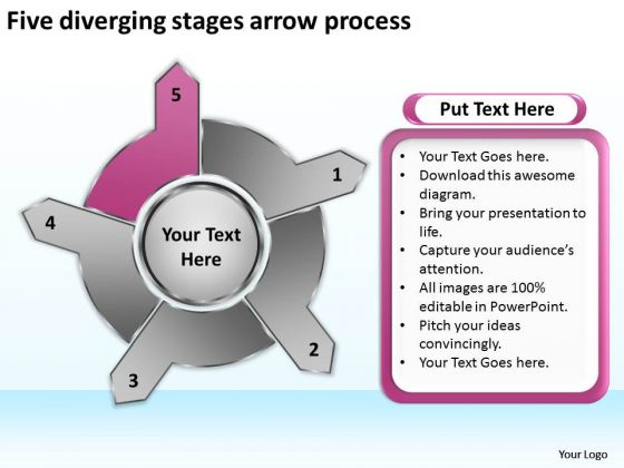Five Diverging Stages Arrow Process Circular Flow Diagram PowerPoint Templates