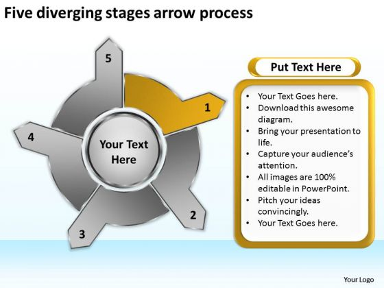 Five Diverging Stages Arrow Process Circular Layout Network PowerPoint Slides