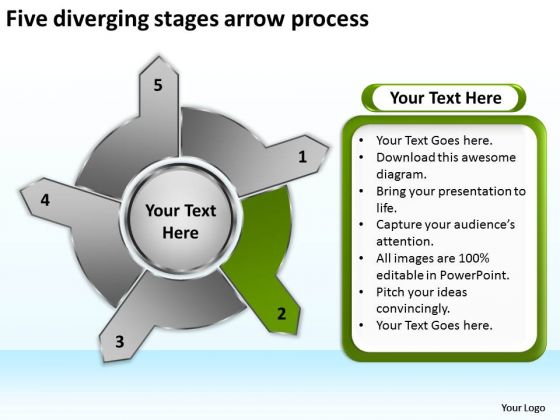 Five Diverging Stages Arrow Process Circular PowerPoint Templates