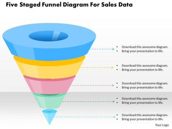 Five Staged Funnel Diagram For Sales Data PowerPoint Template