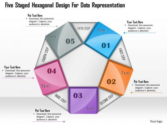 Five Staged Hexagonal Design For Data Representation Presentation Template