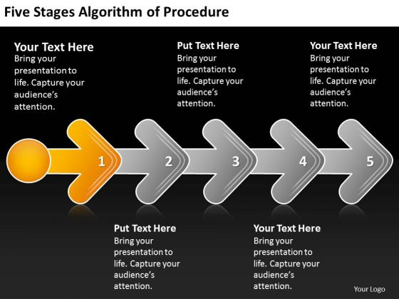 Five Stages Agorithm Of Procedure Flow Chart Description PowerPoint Templates
