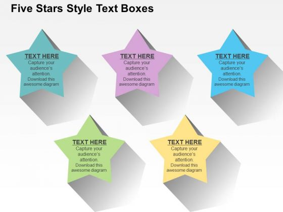 Five Stars Style Text Boxes PowerPoint Templates