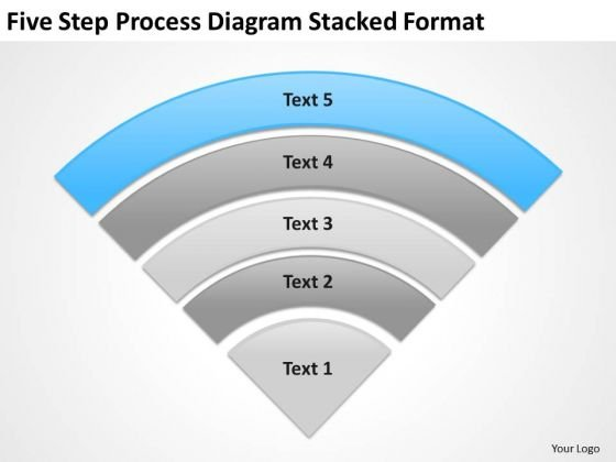 Five Step Process Diagram Stacked Format Ppt Business Plan PowerPoint Templates