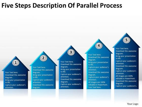 Five Steps Description Of Parallel Process Cafe Business Plan PowerPoint Slides