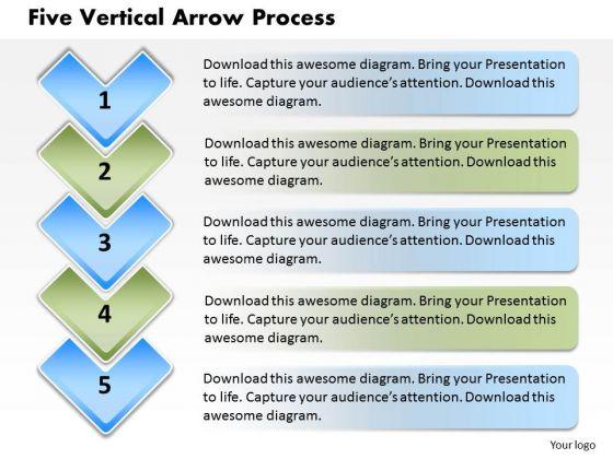 Five Vertical Arrow Process PowerPoint Presentation Template