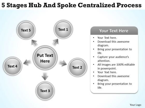 Flow Chart Business 5 Stages Hub And Spoke Centralized Process PowerPoint Templates