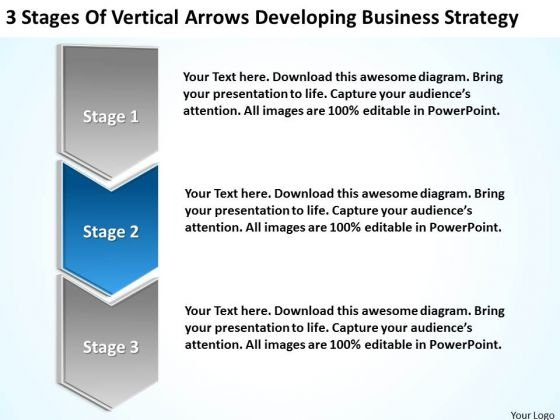 Flow Chart Business Of Vertical Arrows Developing Strategy Ppt PowerPoint Template