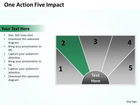 Flow Chart Business One Action Five Impact PowerPoint Templates