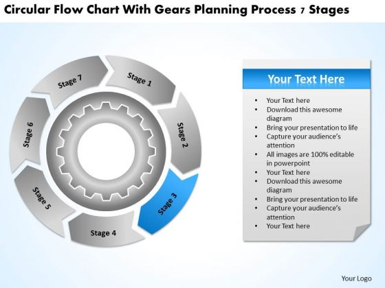 Flow Chart With Gears Planning Process 7 Stages Business PowerPoint Slides