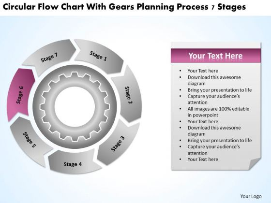 Flow Chart With Gears Planning Process 7 Stages Business Writer PowerPoint Slides