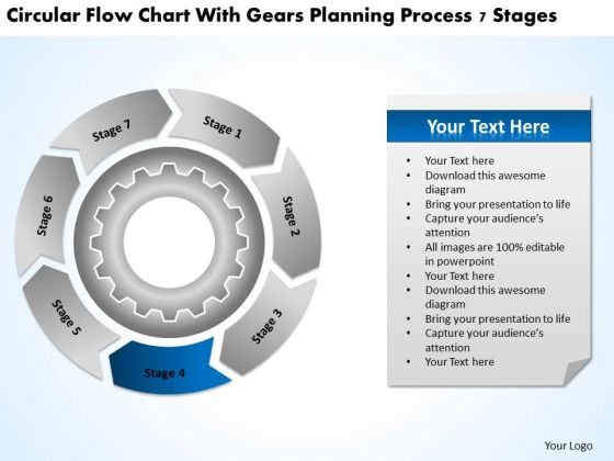 Flow Chart With Gears Planning Process 7 Stages Ppt Business PowerPoint Slides