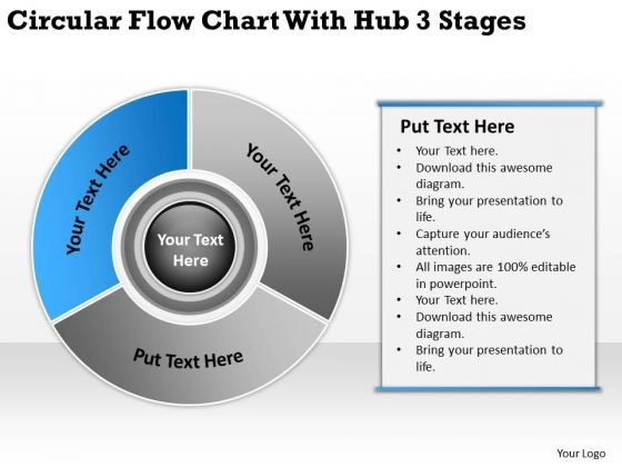 Flow Chart With Hub 3 Stages Ppt Template For Writing Business Plan PowerPoint Templates