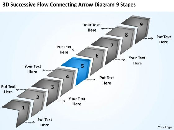 Flow Connecting Arrow Diagram 9 Stages Free Business Planning PowerPoint Templates
