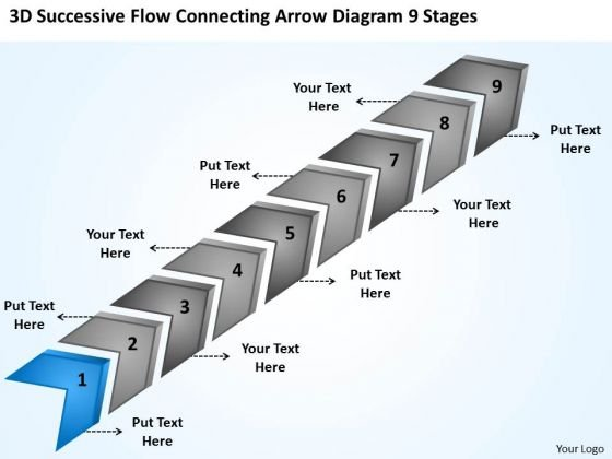 Flow Connecting Arrow Diagram 9 Stages Free Example Business Plans PowerPoint Templates