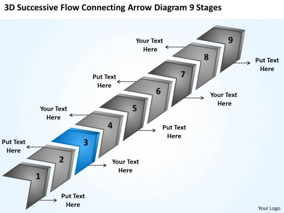 Flow Connecting Arrow Diagram 9 Stages Putting Together Business Plan PowerPoint Templates