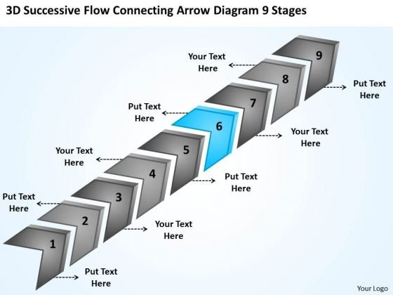 Flow Connecting Arrow Diagram 9 Stages Small Business Plan Templates PowerPoint Slides