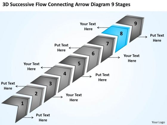 Flow Connecting Arrow Diagram 9 Stages Small Business Plans For Dummies PowerPoint Slides