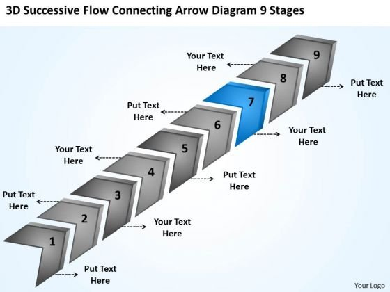 Flow Connecting Arrow Diagram 9 Stages Templates For Business PowerPoint