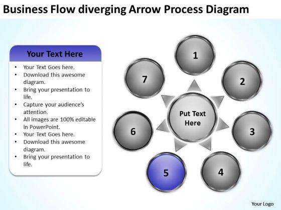 Flow Diverging Arrow Process Diagram Chart Circular PowerPoint Templates