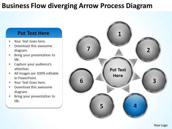 Flow Diverging Arrow Process Diagram Cycle Circular PowerPoint Templates