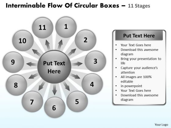 Flow Of Circular Boxes 11 Stages Ppt Relative Arrow Chart PowerPoint Templates