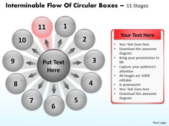 Flow Of Circular Boxes 11 Stages Process Diagram PowerPoint Slides