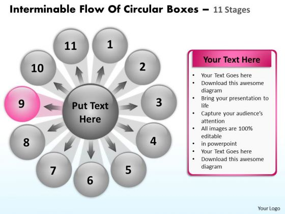 Flow Of Circular Boxes 11 Stages Relative Cycle Arrow Process PowerPoint Templates