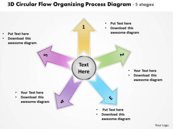 Flow Organizing Process Diagram 5 Stages Circular Network PowerPoint Templates