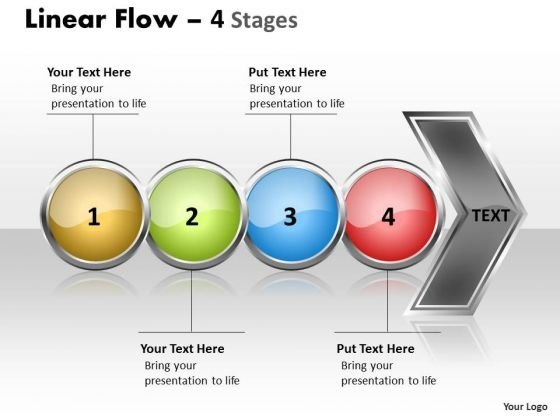 Flow PowerPoint Template Circular Of 4 Stages Business Management Graphic