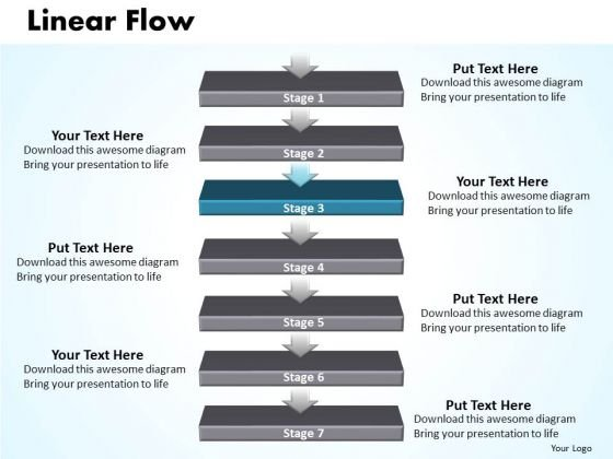Flow PowerPoint Template Linear Flow 7 Stages Business Strategy Business Graphic