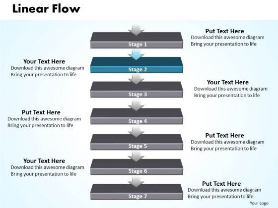 Flow PowerPoint Template Linear Flow 7 Stages Business Strategy Graphic