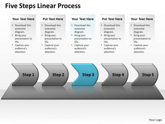Flow Ppt Background Five Steps Working With Slide Numbers Linear Process 4 Image