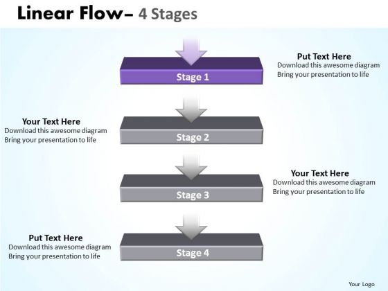Flow Ppt Linear Flow 4 Power Point Stages Business Plan PowerPoint 2 Design