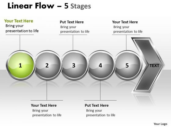 Flow Ppt Template Collinear Representation Of 5 Concepts PowerPoint Slides 2 Image