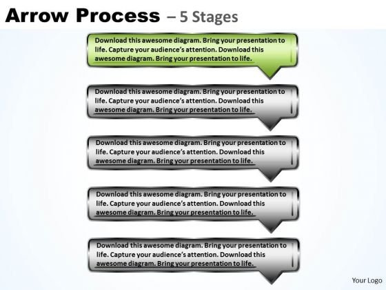 Flow Ppt Template Sequential Process Using Rectangular Arrows 2 Image