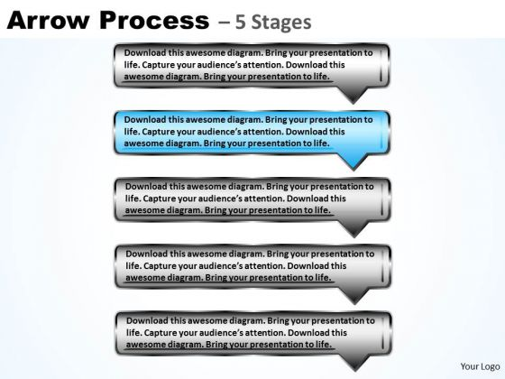 Flow Ppt Template Sequential Process Using Rectangular Arrows 3 Image