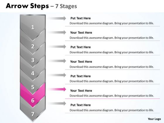 Flow Ppt Theme Arrow 7 Stages 1 Business Management PowerPoint Image