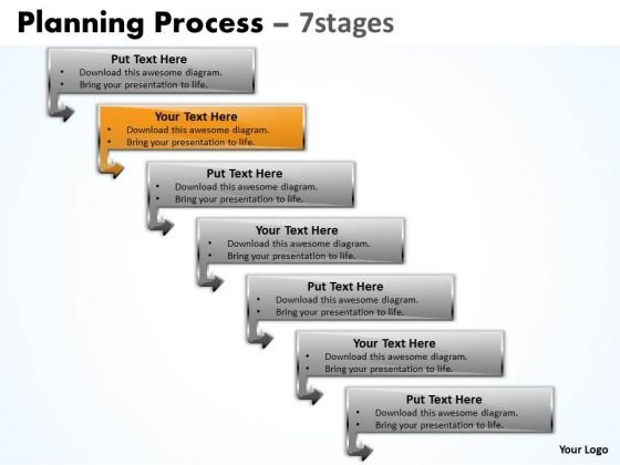 Flow Ppt Theme Downward Process Of 7 Stages Business Strategy PowerPoint 3 Design