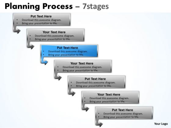 Flow Ppt Theme Downward Process Of 7 Stages Business Strategy PowerPoint 4 Design