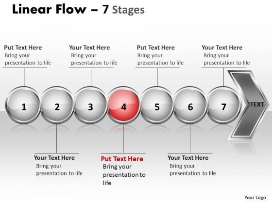 Flow Ppt Theme Linear Demonstration Of 7 Concepts Project Management PowerPoint 5 Graphic