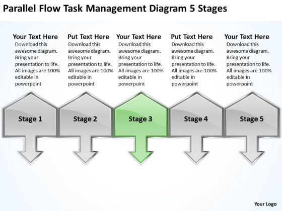 Flow Task Management Diagram 5 Stages Free Business Plan Download PowerPoint Templates