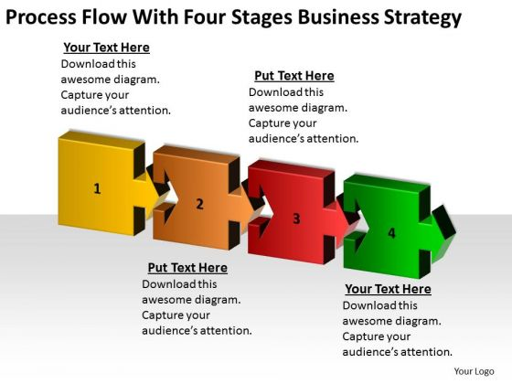 Flow With Four Stages Business Strategy Planning Ppt Example Of Plans PowerPoint Slides