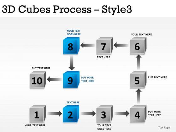Flowchart 3d Cubes Process 3 PowerPoint Slides And Ppt Diagram Templates
