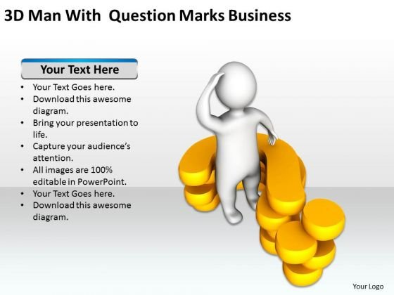 Flowchart For Business 3d Man With Question Marks PowerPoint Slides