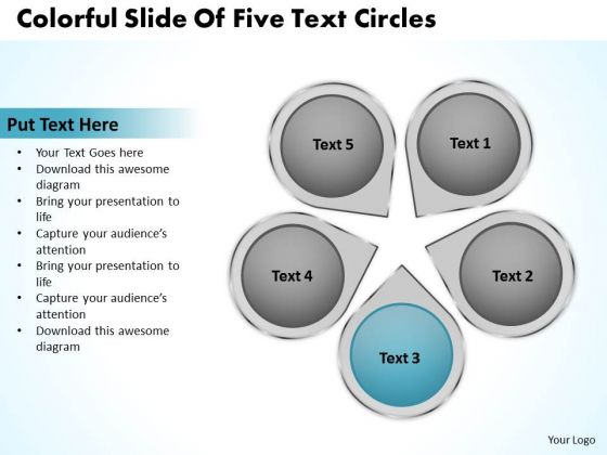 Flowchart For Business Colorful Slide Of Five Text Circles Ppt 3 PowerPoint Slides
