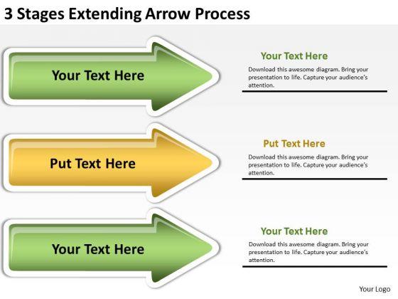 Flowchart Parallel Process 3 Stages Extending Arrow PowerPoint Slides