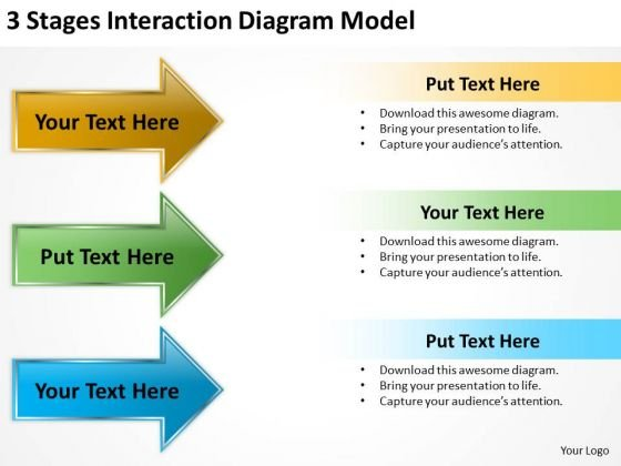 Flowchart Parallel Process 3 Stages Interaction Diagram Model PowerPoint Slides