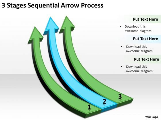 Flowchart Parallel Process 3 Stages Sequential Arrow PowerPoint Slides