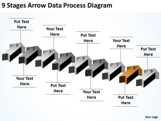 Flowchart Parallel Process 9 Stages Arrow Data Diagram Ppt PowerPoint Slides